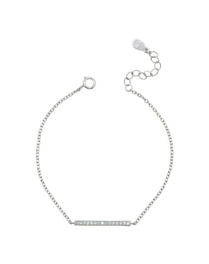 Tiny Cubic Zirconia Slim Bar Bracelet