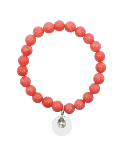 Coral Salmon Stretch Bracelet
