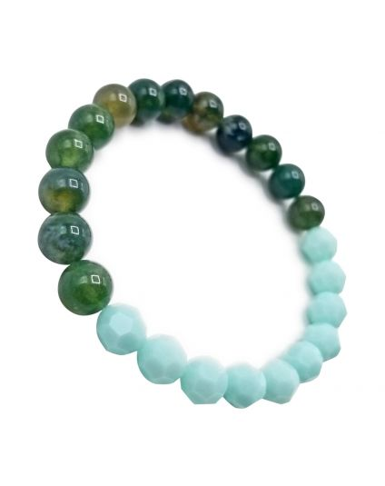 Mint & Agate Moss Stretch Bracelet