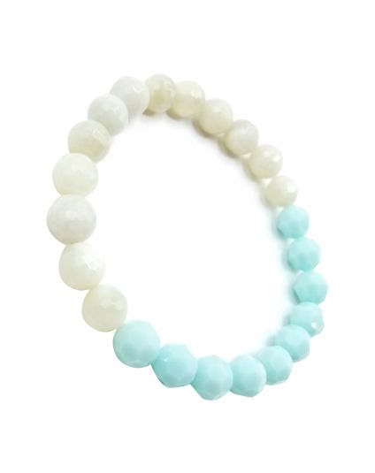Mint & Genuine Moonstone Stretch Bracelet