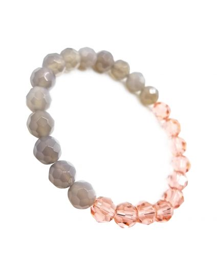 Rose Peach & Agate Grey Stretch Bracelet