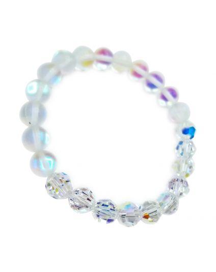 Aurora Borealis & Matte Moonstone Stretch Bracelet