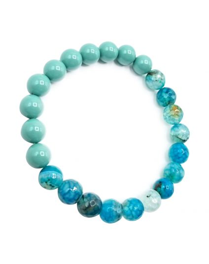 Jade Pearl & Fire Agate Green Stretch Bracelet
