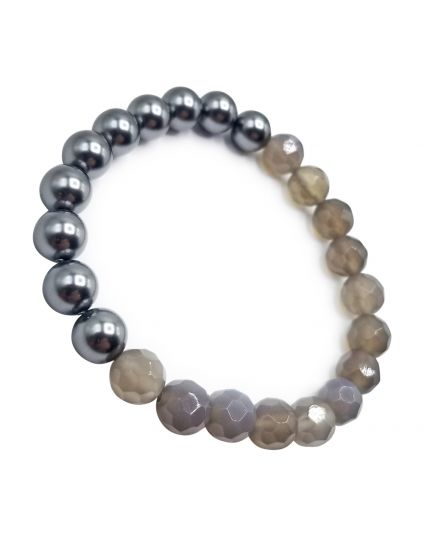 Grey Pearl & Agate Grey Stretch Bracelet
