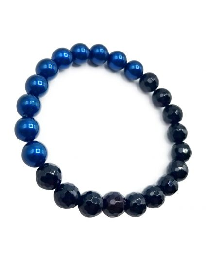 Navy Pearl & Onyx Stretch Bracelet