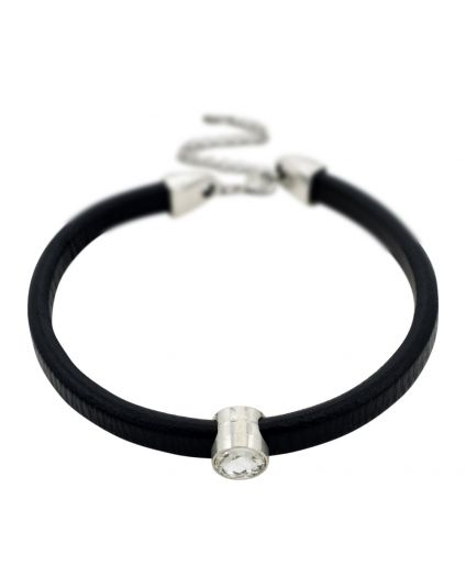 Bold Leather Centerpiece Crystal Choker