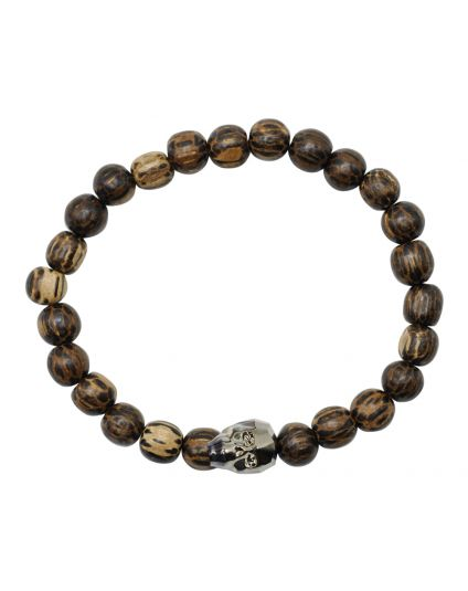 Crystal Skull Patican Wood Stretch Bracelet