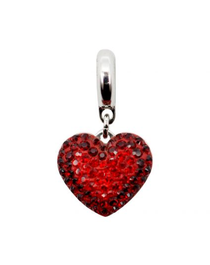 Pave Crystal Heart Add-On Bead