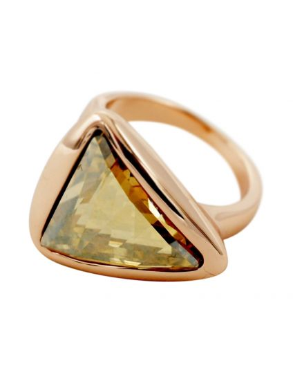 Rose Gold Crystal Triangle Ring