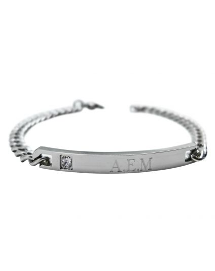 Womens Stainless Steel Plaque Personalized Bracelet