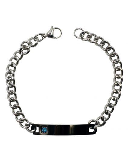 Men's Black Plaque Personalized Bracelet