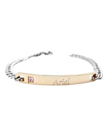 Womens Rose Gold Plaque Personalized Bracelet
