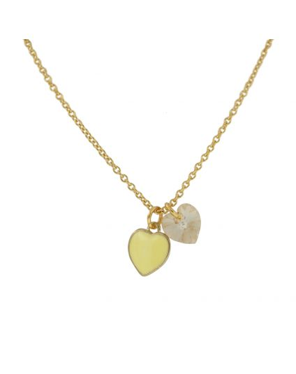 Tiny Double Heart Crystal Necklace
