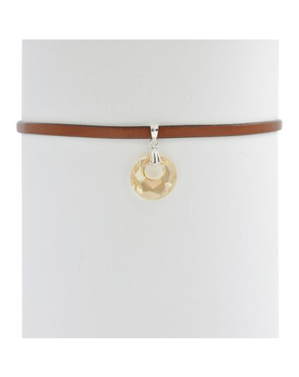 Victory Crystal Leather Choker