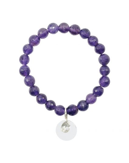 Faceted Amethyst Stretch Bracelet